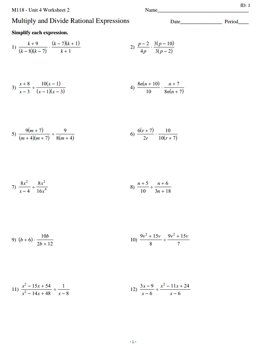 Multiplying And Dividing Rational Expressions Worksheet Free ...
